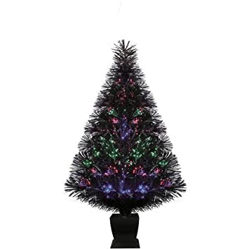 Exceptional Holiday Time Pre Lit 32 Fiber Optic Artificial Christmas Tree, Black, Color  Change