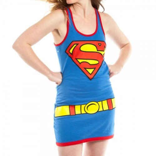 Superman Super Girl Costume Ladies Juniors Tank Dress T-Shirt Medium blue