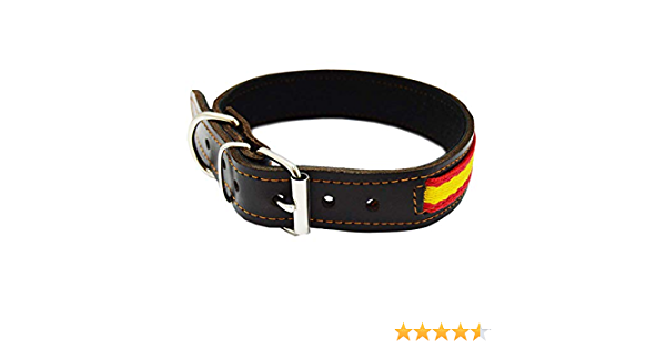 Tiendas LGP - Collar para Perros de Piel Flor con Bandera de España. 2,5 x 53 cm, Marrón: Amazon.es: Productos para mascotas