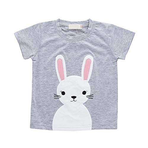 Toddler Girls Boys Crew Neck Short Sleeve Rabbit Tee Jersey Cute Bunny Pink Tops Easter T-Shirt 0-6 Years