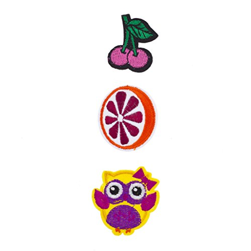 Lux Accessories Cherry, Orange and Owl Novelty Iron Patches Set (Womens Scary Cherry Jacket)