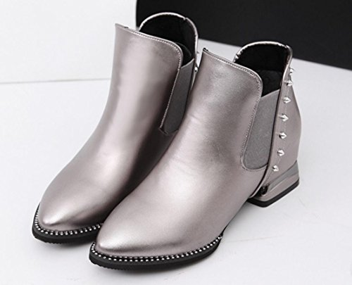 XDGG Women The New Artificial PU Pointed Boots Elastic Band Short Boots Leisure Single Shoes , Silver , 36