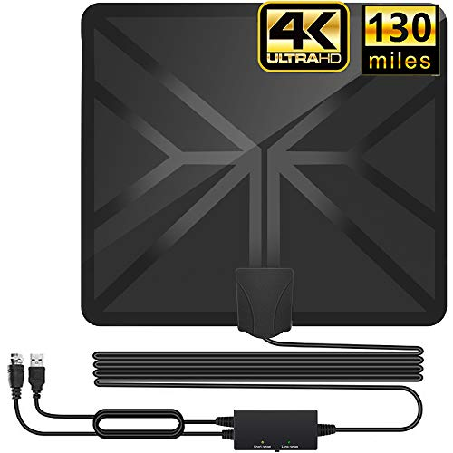 HDTV Antenna,130+ Miles Long Range Indoor Digital TV Antennas with 2020 Newest Switch Amplifier Signal Booster for Local Free Channels 4k HD 1080P 2016P All Older TV