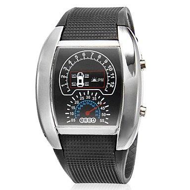 HE Shop Turbo estilo LED Digital Silver Caja de goma banda reloj de pulsera para hombre (varios colores) , Azul: Amazon.es: Relojes