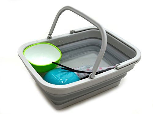 SAMMART 9.2L (2.37Gallon) Collapsible Tub with Handle - Portable Outdoor Picnic Basket/Crater - Foldable Shopping Bag - Space Saving Storage Container (1, Grey)
