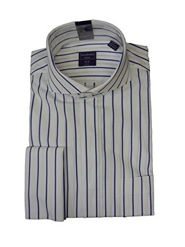 Modena Mens Dobby Striped Cutaway Collar French Cuff Dress Shirt