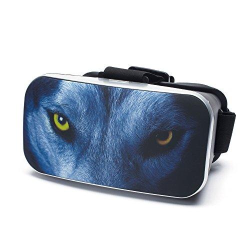 VR Virtual Reality Brille by aricona - Gaming Headset für Filme & Spiele in 3D Format für 4.0 - 6.0 Zoll Smartphones, in The Wolf Design