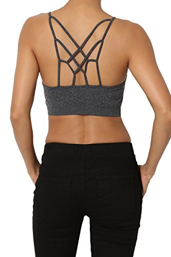 TheMogan Women's Cage Strappy PADDED Bralettes Bustier Crop Bra Top Charcoal S/M Bodice Stretch Bustier