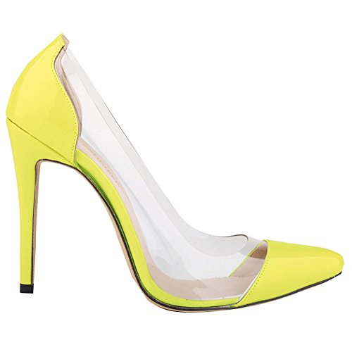 Fereshte Womens Sexy Closed Toe Simple Candy Color Stilettos OL Pumps Yellow 4seI3R