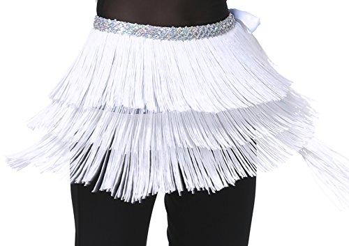 Hip Scarfs for Women White Fringe Skirt for Belly Dance S M