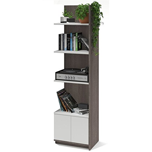 Bestar Small Space 20'' Add-on Storage Tower in Bark Gray and White