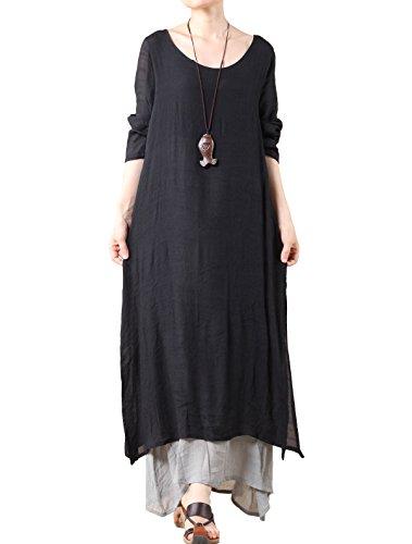 Vogstyle - Vestido - para niña Long sleeve-Black