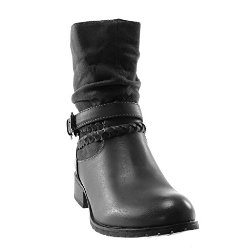 Shoes Block bi Buckle Fashion Women's Grey Ankle Angkorly Biker 3 Booty 5 Material Thong Soft Boots Boots Heel Braided cm q6E8w5xP