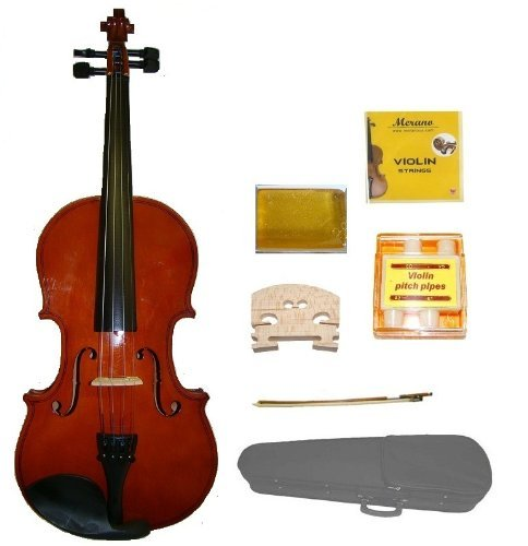 GRACE 1/10 Size Natural Acoustic Violin with Case and Bow+Rosin+2 Sets Strings+2 Bridges+Tuner