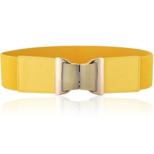 Wyenliz Women's Waist Belts Wide Elastic Stretch Cinch Belt with Fashion Metal Interlock Buckle