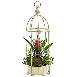 Nearly Natural 1678-PP 19 in. Bromeliad & Succulent Artificial Bird Cage Silk Arrangements, Purple 110