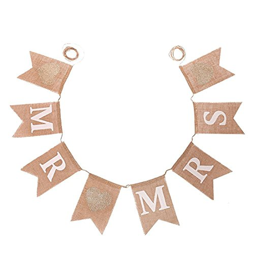 Koker MR and MRS Burlap Bunting Banners Garland - Vintage Rustic Wedding Table Hanging Signs for Bridal Shower, Wedding Photo Booth Props Backdrop Decoration, 8pcs Flags]()