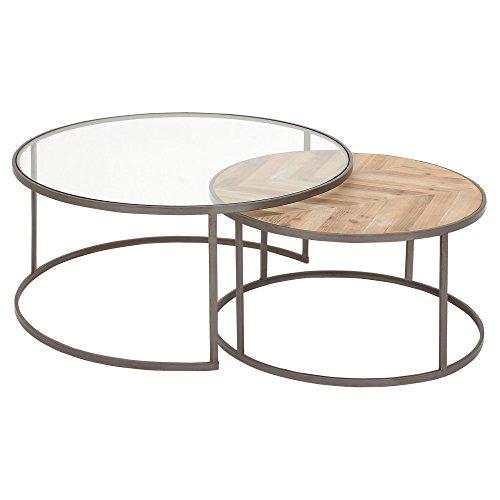 metal and wood coffee table set - 6