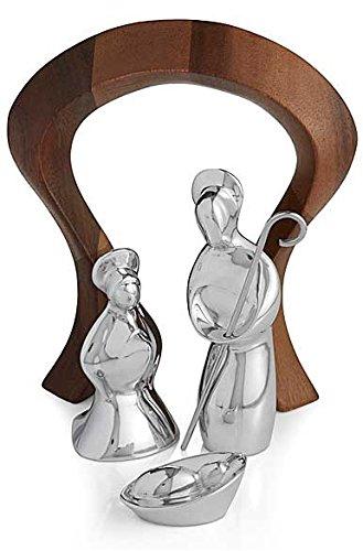 Nambè Alloy and Acacia Wood 4 Piece Miniature Nativity Scene
