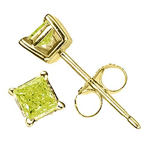 .50 Carat Brilliant Princess Cut Canary Diamond Stud Earrings SI2