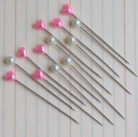 Maya Road Trinket Pins - Vintage Round Pearl And Hot Pink Heart Trinket Pins (Maya Road)
