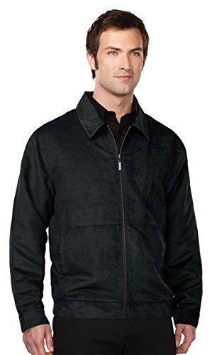 Tri-Mountain Men's Lightweight Microsuede Full Zip Shell Jacket, Black XX-Large - Black Microsuede Jacket