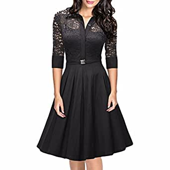 Samtree Women's Vintage 3/4 Sleeve A-line Cocktail Party Floral Swing Lace Dress(S(US 2-4),Black)