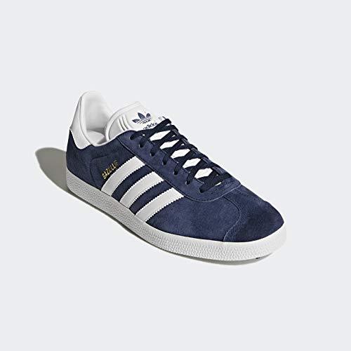 adidas Originals Men's Gazelle Lace up Sneaker,Collegiate NavyWhiteGold Met,10.5 M US FrenzyStyle
