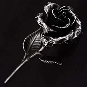 Hand Forged Iron Rose Sculpture – Romantic Anniversary gift – Wrought Steel Flower