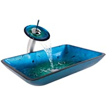 Kraus C-GVR-204-RE-10CH Irruption Blue Rectangular Glass Vessel Sink and Waterfall Faucet Chrome