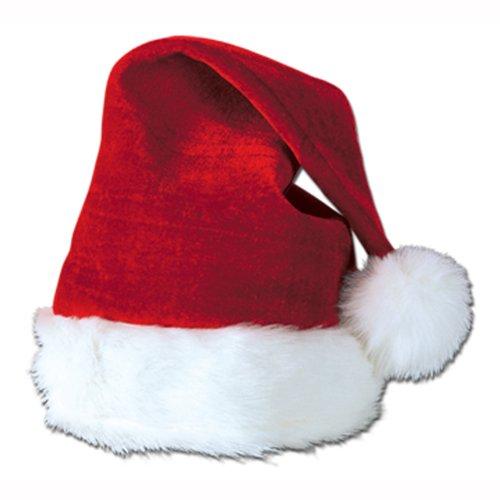 Beistle 20731 Velvet Santa Hat with Plush Trim, One Size Fits Most, (Red/White) (Santa Claus Cap)