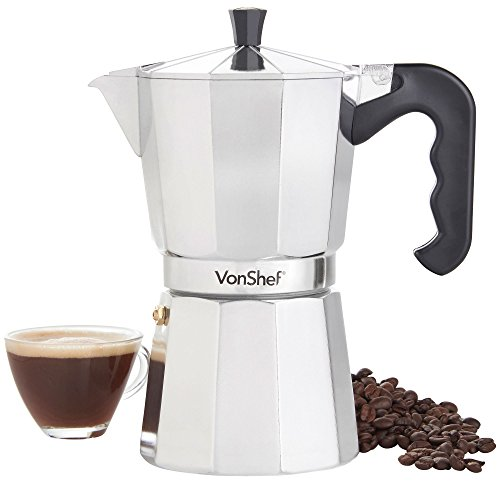 VonShef Italian Stovetop Moka Pot Espresso Coffee Maker, Chrome, 9 Espresso (Coffee Pot Aluminum 9 Cup)
