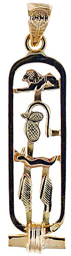 18k Gold Cartouche Pendant with ''LOVE'' in Hieroglyphic Symbols - Open Style - Made in Egypt by Discoveries Egyptian Imports