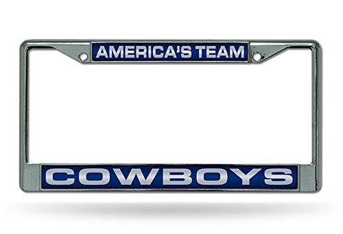 Rico Industries NFL Dallas Cowboys Laser Cut Inlaid Standard Chrome License Plate Frame Chrome 6 x 12.25