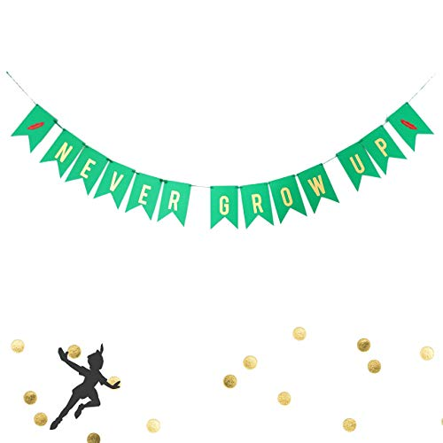 Never Grow Up Birthday Banner Lost Boys Pan Party Decoration Baby Birthday Metallic Gold Green Red Fairy Tale Garland ()