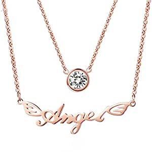 18K Women's Rose Gold Plated Stainless Steel Double Layer Single Zircon Angel Pendant Clavicle Necklace 17 Inch