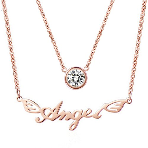 WaMLFac 18K Women's Rose Gold Plated Stainless Steel Double Layer Single Zircon Angel Pendant Clavicle Necklace 17 - Charm Holiday Necklace