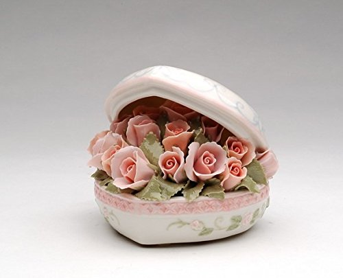 Cosmos Gifts SF49007 Fine Porcelain Heart Shaped Pink Rose Flowers Bouquet Music Box (Music Tune: Love Story), 4-1/2