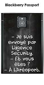 Carcasa Blackberry Passport Design citación 'Je Suis envoyé' Écrite a la tiza