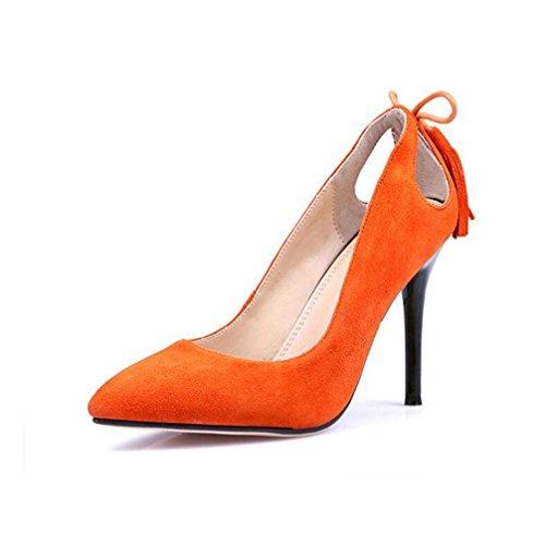 39 Talons Bouche Prom Hauts Peu Profonde Fine Automne Pointu Couleur Gland Femmes Occupation Orangered Dames Parti Highxe Solide zIqATwF