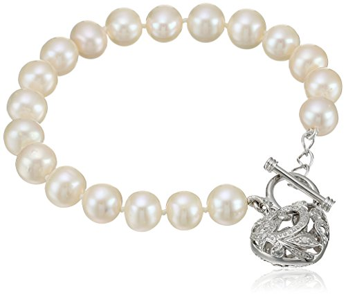 Pearl Heart Toggle (Bella Pearl White Heart Toggle Bracelet,)