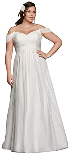 Tulle A-line Plus Size Wedding Dress with Swag Sleeves Style 9WG3779, Ivory, 18W
