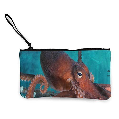 Coin Purse Red Octopus Girl Zip Canvas Purse Wallet TravelPersonalized Bag