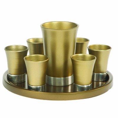 Kiddush Cup & Fountain Set - Yair Emanuel ANODIZED ALUMINUM KIDDUSH SET WITH TRAY GOLD (SET) (Bundle)