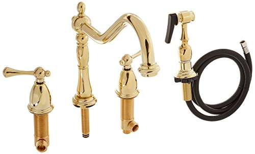 Kingston Brass KB7792BLBS English Country 8-Inch Widespread Kitchen Faucet with Brass Sprayer, Polished Brass