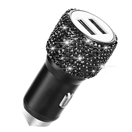 Dual USB Car Charger,SAVORI Car Adapter Bling Bling Rhinestones Crystal Car Decorations for Fast Charging Car Decors for iPhone Xs Max X Plus, iPad Pro/Mini, Samsung (Bling Black)