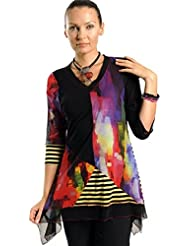 Lior Paris - Split Decision, Watercolor Tunic, Asymmetric Hem & Trimmed V-Neck