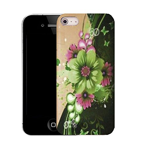 Mobile Case Mate IPhone 5S clip on Silicone Coque couverture case cover Pare-chocs + STYLET - green motto pattern (SILICON)