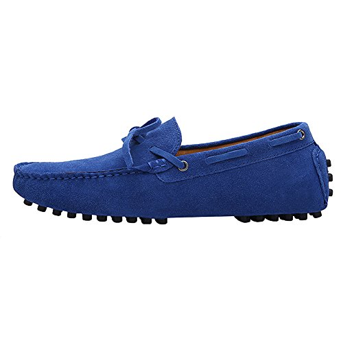 rismart Mens Driving Casual Suede Leather Loafers & Slip-Ons Boat Shoes Royal Blue Zt4cwmwhYo
