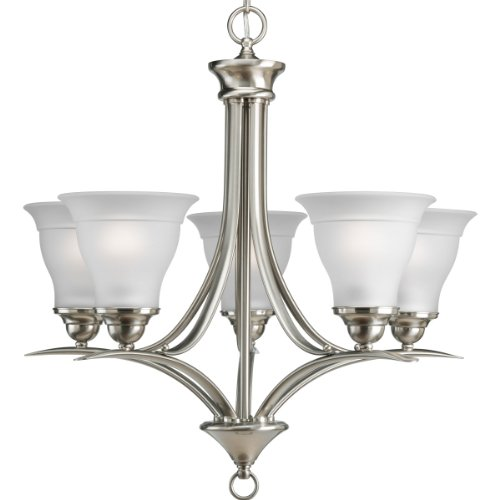 Progress Lighting P4328-09EBWB Trinity Collection 5-Light Chandelier, Brushed - Five Chandelier Light Collection Nickel